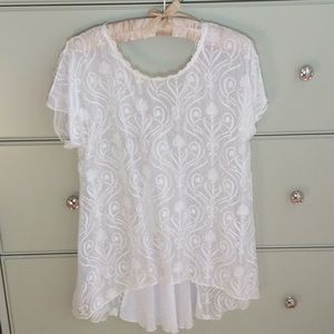 Lovely sheer embroidered Johnny Was blouse